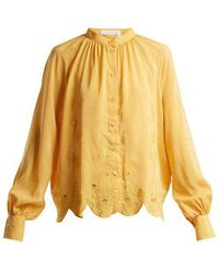 See By Chloé - Embroidered Silk-blend Blouse - Lyst