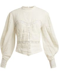 Isabel Marant Lyneth Lace High-neck Linen Top - White