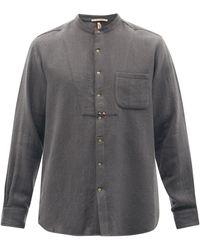 Péro Collarless Wool-twill Shirt - Grey
