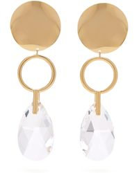Isabel Marant - Gold Plated Hoop And Crystal Drop Earrings - Lyst