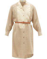Loewe アナグラムシルクシャツドレス - ナチュラル