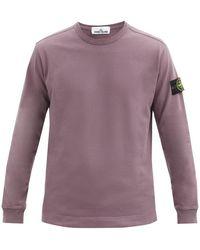 Stone Island Pull en laine mélangée côtelée à empiècement logo - Violet