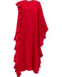 Valentino ウォーターフォールラッフル シルククレープドレス - レッド