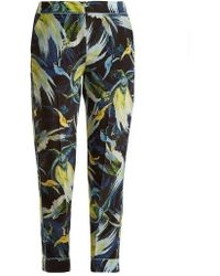 Erdem - Giulia Night Bird Print Silk Cropped Trousers - Lyst