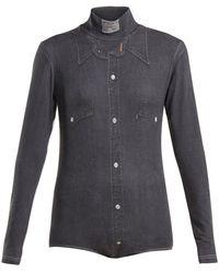 Vetements Denim Shirt-print High-neck Bodysuit - Gray