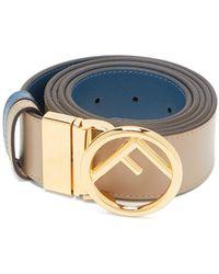 Fendi - Logo-embellished Reversible Leather Belt - Lyst
