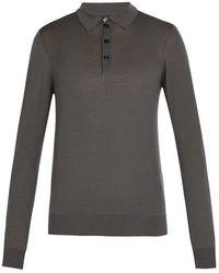 Giorgio Armani - Fine-knit Wool Polo Shirt - Lyst