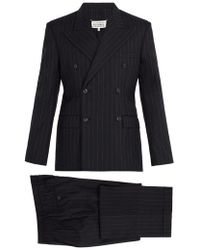 Maison Margiela - - Pinstripe Double Breasted Suit - Mens - Navy - Lyst
