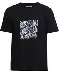 Saint Laurent アブストラクトロゴ コットンtシャツ - ブラック