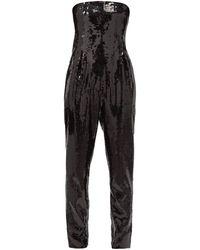 Saint Laurent ストラップレス スパンコール ビスチェジャンプスーツ - ブラック