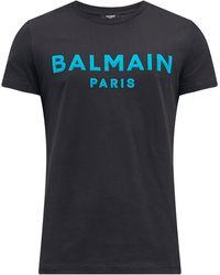 Balmain フロックロゴ コットンtシャツ - ブラック