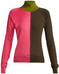 Marni - Colour-block High-kneck Wool-blend Sweater - Lyst