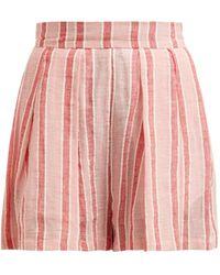 Three Graces London Kilman Striped Linen-blend Shorts - Pink
