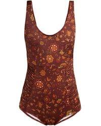 Dodo Bar Or Adinna Scoop-back Floral-print Swimsuit - Brown