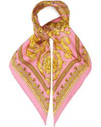 Versace Foulard en soie à imprimé baroque - Multicolore