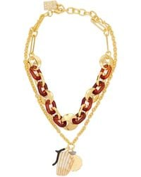 Lizzie Fortunato Elba Layered Charm Gold Plated Necklace - Brown