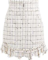 Rebecca Taylor Ruffle Hem Cotton Blend Tweed Bouclé Skirt - Natural