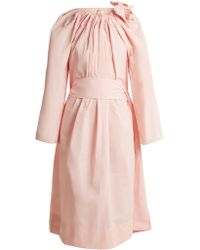 Maison Rabih Kayrouz | Tie-neck Gathered Paper-taffeta Dress | Lyst