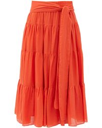 Loup Charmant Demeter Banded Organic-cotton Midi Skirt - Red