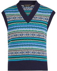Burberry V-neck Sleeveless Fair Isle-knit Wool-blend Top - Blue