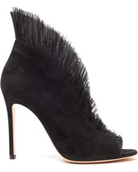 Gianvito Rossi Tulle Panel Court Shoes - Black