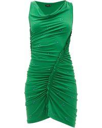 Atlein Ruched Crystal-embellished Crepe Dress - Green