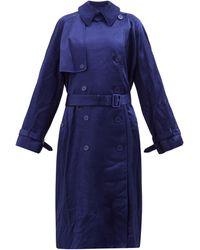 Balenciaga Trench-coat en satin froissé - Bleu