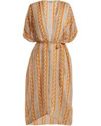 Mes Demoiselles Swahili Printed Silk Kimono - Orange