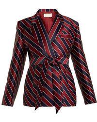 Sara Battaglia - Striped Tie Waist Double Breasted Satin Blazer - Lyst