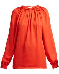 Tibi - Elasticated-neck Georgette Blouse - Lyst