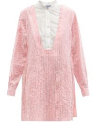 Thierry Colson Victoria Crinkled Stripe Cotton-sateen Shirt Dress - Pink