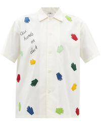 Bode All Hands On Deck Appliqué Cotton-poplin Shirt - White