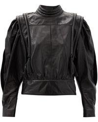 Isabel Marant Lars Balloon-sleeve Leather Blouse - Black