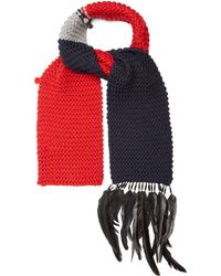 Prada - Feather-embellished Wool Scarf - Lyst