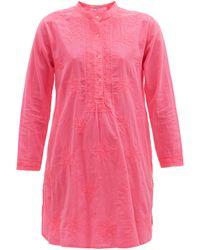 Juliet Dunn エンブロイダリー コットン チュニックシャツドレス - ピンク