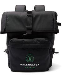 Balenciaga ロゴ ナイロンキャンバス バックパック - ブラック