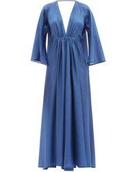 Kalita Clemence Gathered Silk-habotai Maxi Dress - Blue