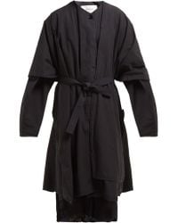 Lemaire - Oversized Draped Cotton Coat - Lyst
