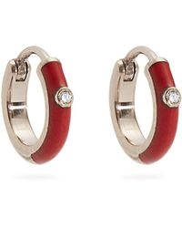 Marc Alary Diamond, Enamel & White-gold Plated Earrings - Red