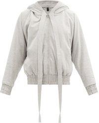 Norma Kamali Hooded Cotton-blend Jersey Bomber Jacket - Gray