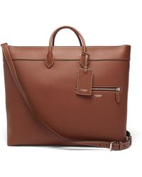 Burberry Grained-leather Tote Bag - Brown