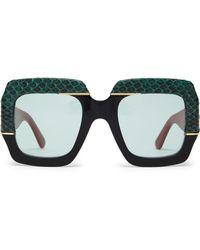 Gucci - Contrast Panel Square Acetate Sunglasses - Lyst