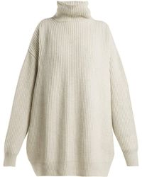 Raey - Displaced Sleeve Ribbed Roll Neck Wool Sweater - Lyst