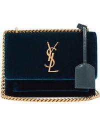Saint Laurent - Sunset Small Velvet Cross Body Bag - Lyst
