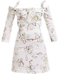 Isa Arfen - Magnolia-print Knot-detailed Cotton Dress - Lyst