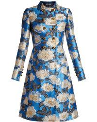 Dolce & Gabbana - Floral-jacquard Point-collar Coat - Lyst