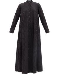 Palmer//Harding Robe longue en coton à broderie Love Exposed - Noir