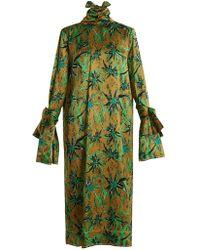 Marni - Long Sleeved Herbage Print Midi Dress - Lyst