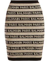 Balmain - Logo Intarsia Knitted Mini Skirt - Lyst
