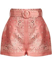 Zimmermann Heathers Bandana Print Linen Shorts - Pink